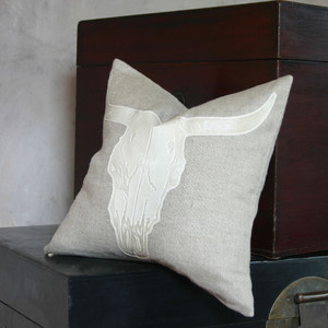 Steer Skull Pillow 16 x 16 inches Linen, Leather Natural