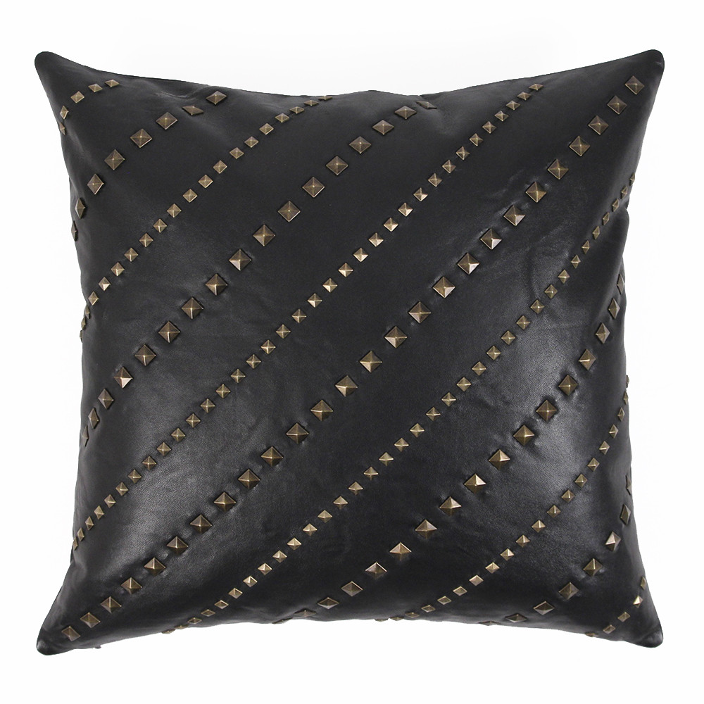 Rock Star Pillow 20 x 20 inches Leather Black, Brass