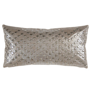 Glacier Pillow 10 x 18 inches Linen, Leather