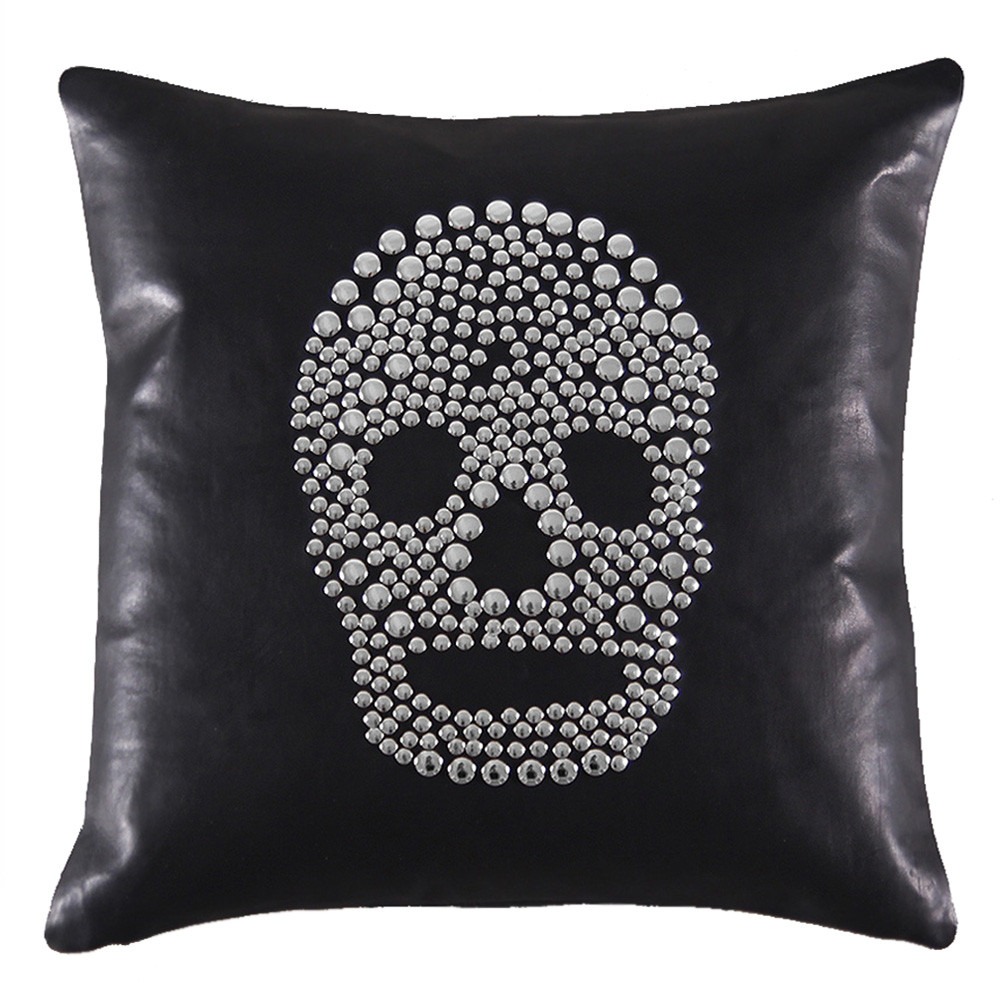 Skullduggery Pillow 16 x 16 inches Leather Black