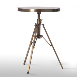 Tripod Side Table 15.5 diameter x 19.5 - 24 H adjustable inches Plated Aluminum Antique Brass