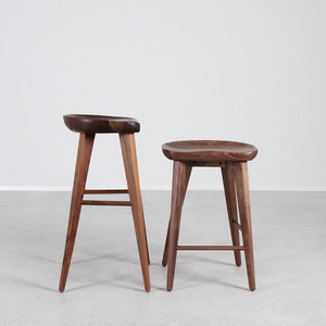 High Ball Walnut Bar Stool 16 x 13 x 24 H inches or 16 x 13 x 29 H inches Solid Walnut