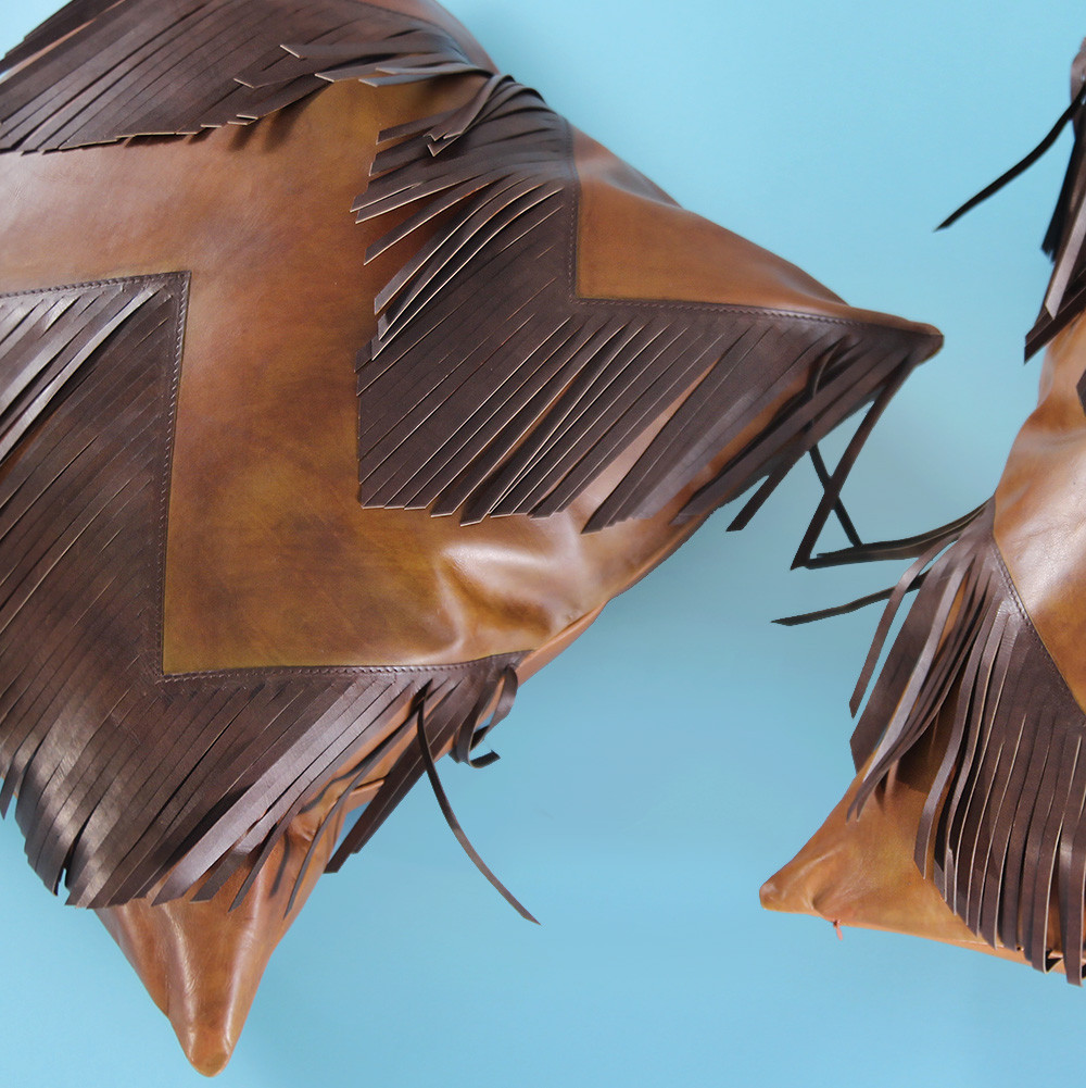 Rodeo Fringe Pillow 20 x 20 inches Leather Saddle Brown, Chocolate Brown