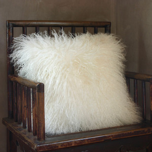 Snowfall Mongolian Lamb Pillow 16 x 16 inches