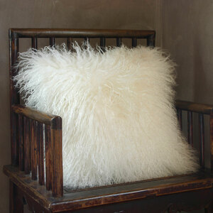 Snowfall Mongolian Lamb Pillow 16 x 16 inches