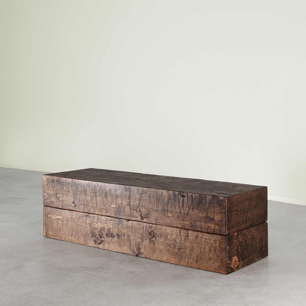 Sugar Pine Cube Bench 48 x 18 x 16 H inches Honey Brown Finish