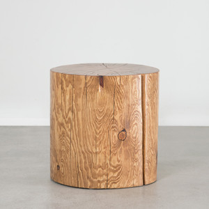 Natural Log Table 18 dia x 18 H inches Pecan Finish Sealed Topcoat
