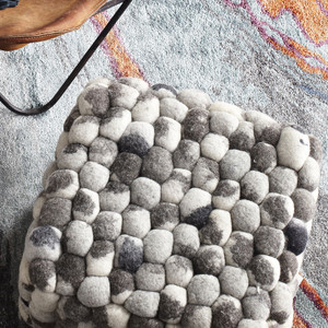 Skipping Stones Pouf - POUF-26 18 x 18 x 14 H inches Wool Felt