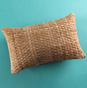 Taos Woven Hide Pillow 10 x 18 inches Cowhide Golden Brown