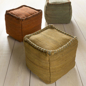 Jute Bengali Pouf  - POUF-192 18 x 18 x 18 H inches Jute Pale Moss, Ochre, Rust