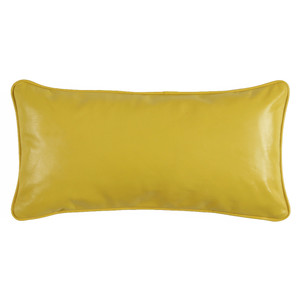 Yellow Leather Pillow 9 x 18 inches