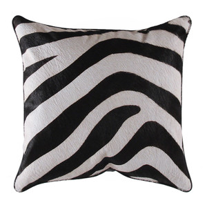 Zambezi Zebra Hide Pillow 16 x 16 inches Stenciled Cowhide, Leather