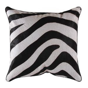 Zambezi Zebra Hide Pillow 16 x 16 inches Stenciled Cowhide, Leather