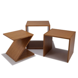 ZON Bamboo Nesting Tables 16 x 20 x 18.5 H inches overall Sustainable Bamboo Caramelized