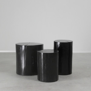 Lacquered Log Tables 12 dia x 16 H inches, 12 dia x 20 H inches, and 18 dia x 18 H inches
