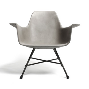 D'Hauteville Armchair 25.5 x 23.25 x 25.5 H inches (12.5 inch seat height) Concrete, Iron Legs