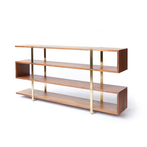 Art Collectors Bookshelf 78.5 x 14 x 36.5 H inches Solid Walnut, Brass