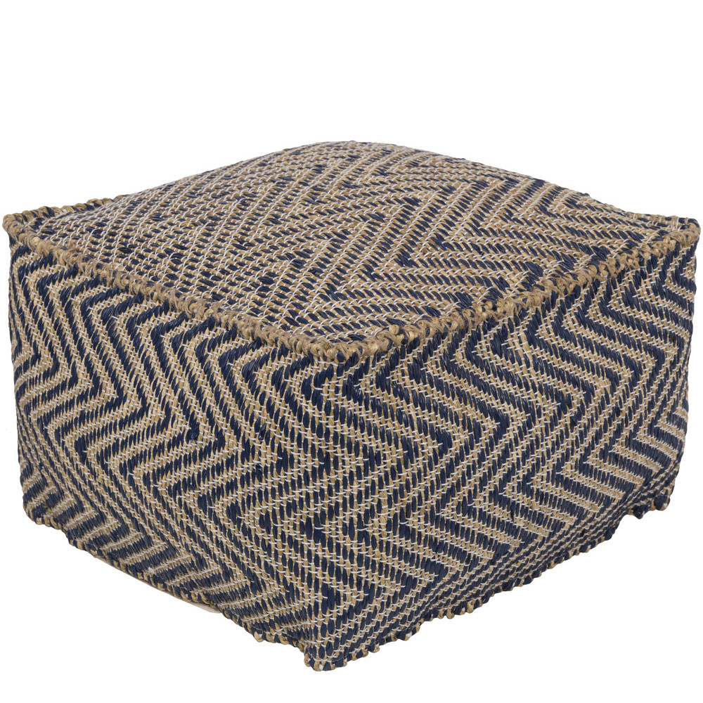 As Shown: Natura Chic Pouf - BDPF-5001 Size: 20 x 20 x 12 H inches Material: Plastic, seagrass and polyester blend Color: Navy