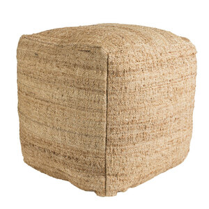As Shown: Neutral Natural Pouf - SEPF-001 Size: 18 x 18 x 18 H inches Material: Jute  Description: When we asked for a true natural pouf, Indian craftsmen delivered. Of neutral, natural jute and densely filled with shredded cotton, this pouf squarely provides extra seating or a place for a tray of small bites.