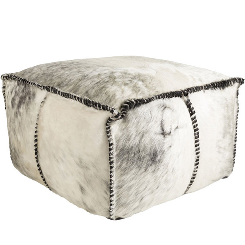 Home On The Range Pouf - RRPF-001 22 x 22 x 13 H inches Cowhide Style A