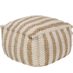 La Plage Pouf - OCPF-4001 20 x 20 x 12 H inches Jute, Cotton