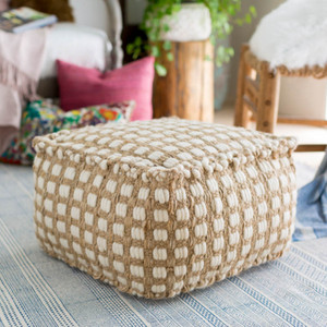 La Playa Pouf - OCPF-4002 20 x 20 x 12 H inches Jute, Cotton