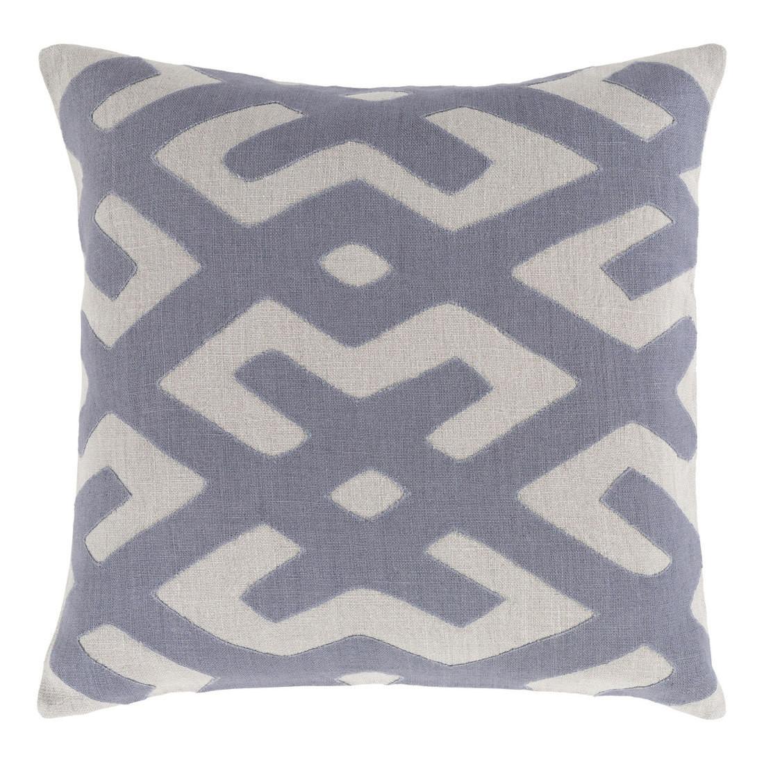 Modern Tribal Kasai Pillow - NRB-003 18 x 18 inches Linen Grey