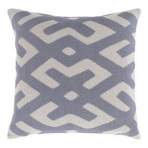 Modern Tribal Kasai Pillow - NRB-003 18 x 18 inches Linen Grey