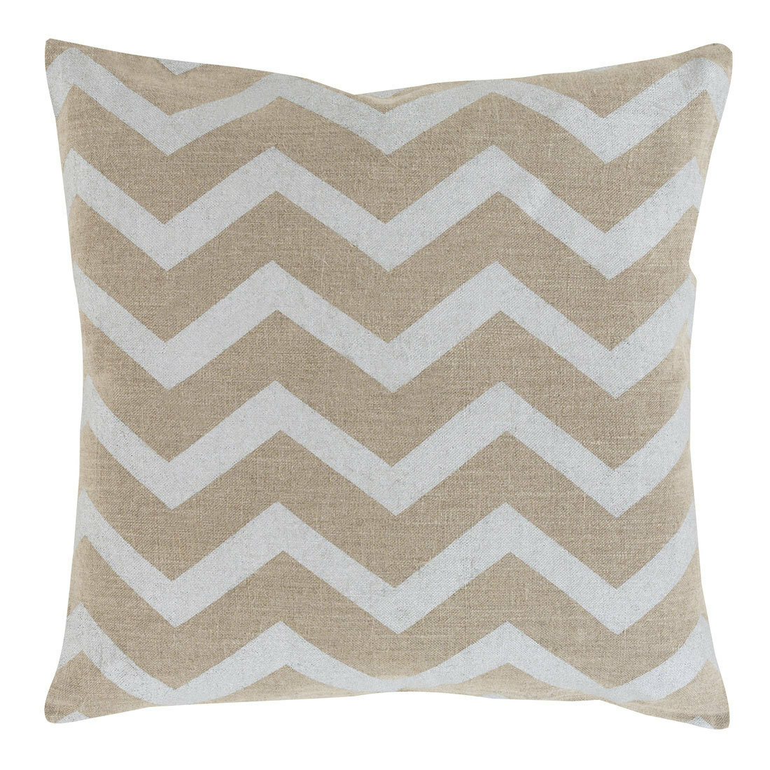 Stamped Linen Chevron Pillow - MS-002 18 x 18 inches Linen Beige