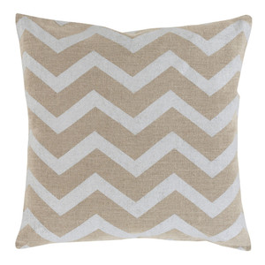 Stamped Linen Chevron Pillow - MS-002 18 x 18 inches Linen Beige