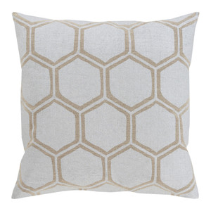 Stamped Linen Honeycomb Pillow - MS-007 18 x 18 inches Linen  Beige
