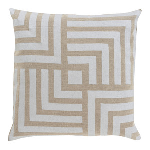 Stamped Linen Maze Pillow - MS-004 18 x 18 inches Linen Beige