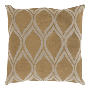 Stamped Linen Droplet Pillow - MS-001 18 x 18 inches Linen Gold