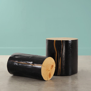 Canyon Road Log Table Size: 12 dia x 22 H inches, 18 dia x 18 H inches Natural /Ebony Finish Sealed Topcoat