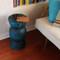 Contemo Turned Table 12 dia x 21 H inches Azure Blue Finish