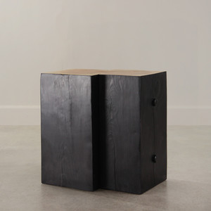 Lorenzo Cube Table 21 x 15 x 22 H inches Ebony/Natural Finish Sealed Topcoat