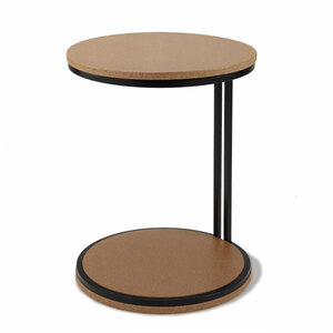 Discus Occasional Table 18 diameter x 24 H inches Sustainable Cork, Steel Natural Coarse Grain, Black