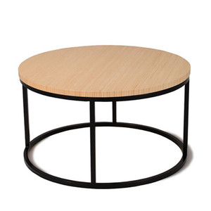 Nimbus Bamboo Round Coffee Table 24 dia x 13.5 H inches Sustainable Bamboo, Steel Natural, Black