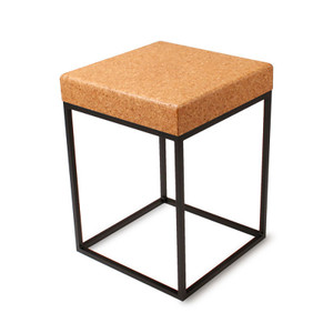 Nimbus Cork Side Table 16 x 16 x 22 H inches Sustainable Cork, Steel Natural Coarse, Black