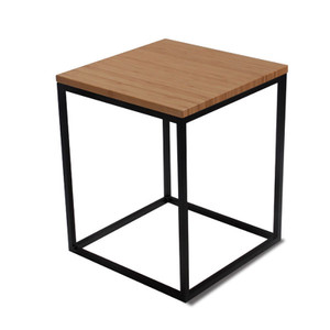 Nimbus Bamboo Side Table 16 x 16 x 20.5 H inches Sustainable Bamboo, Steel Caramelized, Black