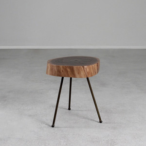 Black Walnut Tripod Table 15-17 dia x 17 H inches Black Walnut, Steel