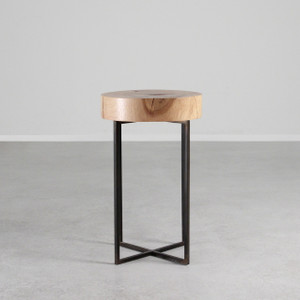 Tahoe Park Side Table 13.5 dia x 22 H inches Maple, Steel