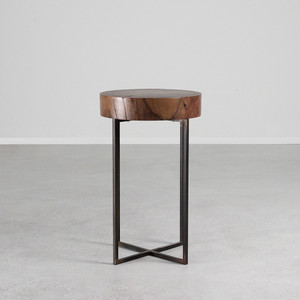 Lake Park Side Table 13.5 dia x 22 H inches  Black Walnut, Steel