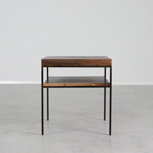 Serrano End Table 20 x 20 x 22 H inches Black Walnut, Steel