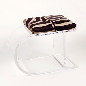 Camps Bay Zebra Stool 25 x 18 x 20 H inches Authentic Zebra Hide, Acrylic