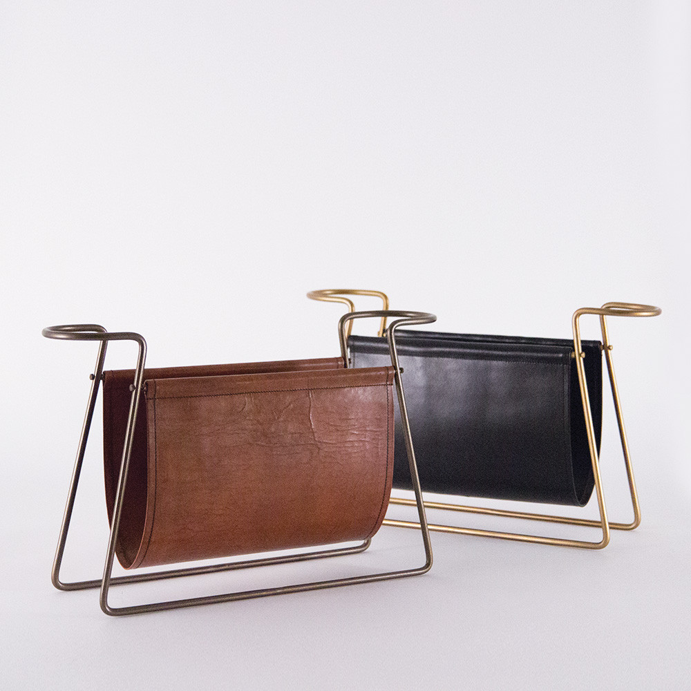 Connaught Leather Magazine Rack 23 x 6.5 x 14 H inches Leather, Metal Antique Brown and Black Leather