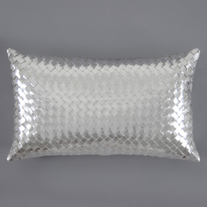 Métallique Leather Pillow 12 x 20  inches Leather Silver