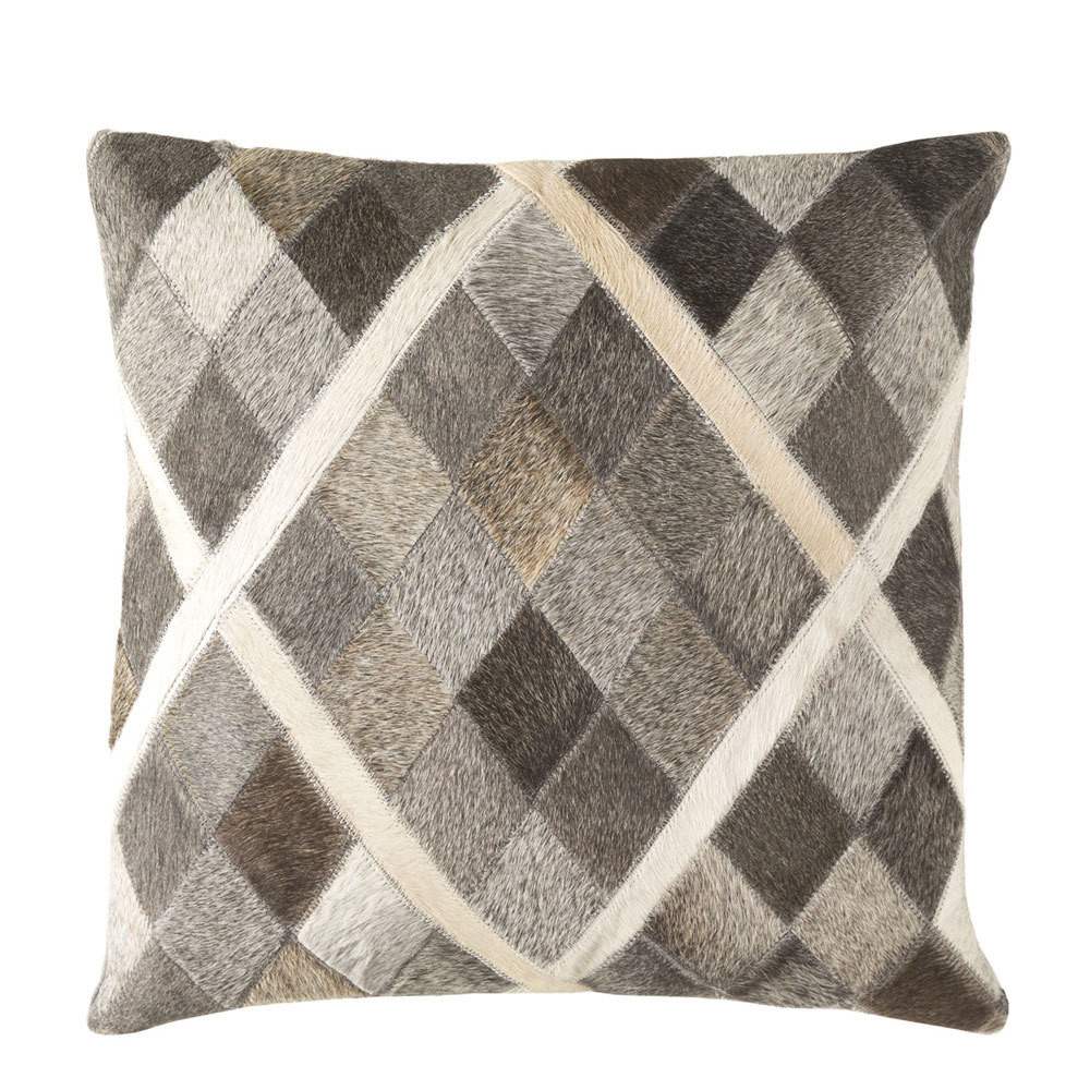 Hair-On Harlequin Pillow - LCN-004 18 x 18 inches Cowhide