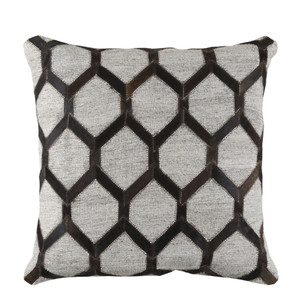 Trellis Hide Pillow - MOD-002 18 x 18 inches Cowhide, Linen