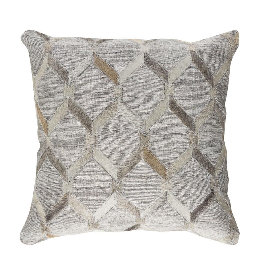 Lattice Hide Pillow - MOD-003 18 x 18 inches Cowhide, Linen